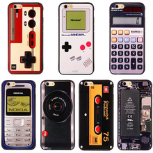 New Retro Phone Camera Tape Consoles Calculator Glitter Carcasa Case For iPhone 6 6s 6Plus 6s Plus Printed Soft Back Cover Coque
