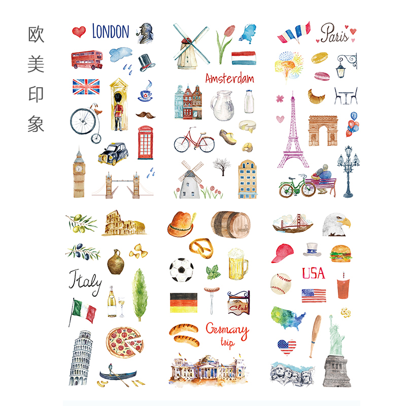 6 Sheets/pack Europe And America Building Adhesive Diy Sticker Stick Label Notebook Album Diary Decor Student Stationery Sticker