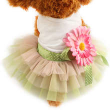 Armi store Sunflower Flower Decoration Dog Dress Princess Dresses For Dogs 6071014  Pet Clothing Supplies S, M, L, XL
