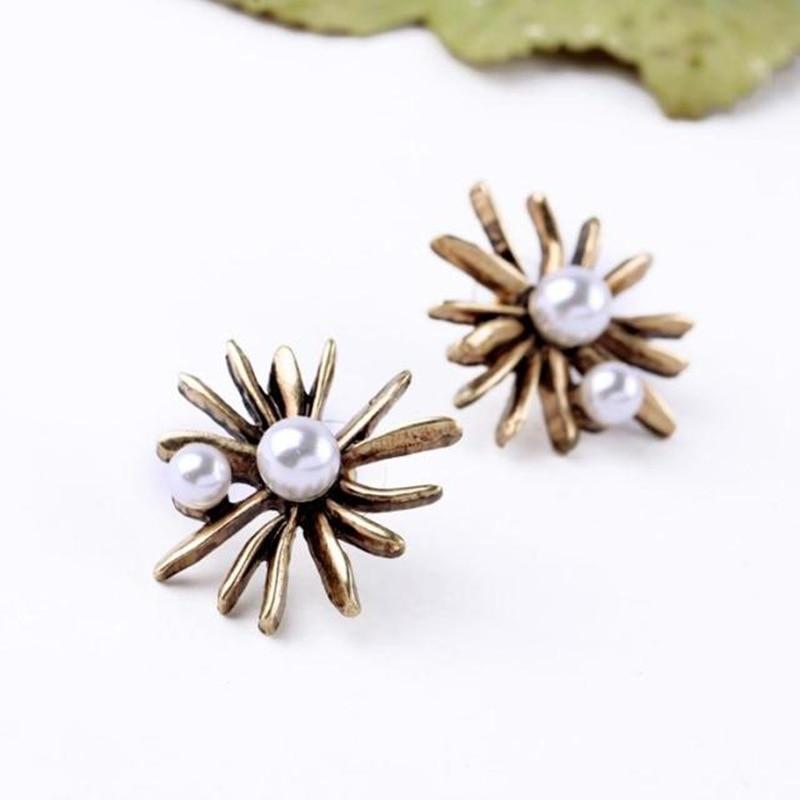 Royal Style Ladies Simulated Pearl Jewelry New Design Retro Flower Women Nightclub Earrings Factory Wholesale (8)
