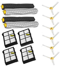 High Quality 2 set Tangle-Free Debris Extractor + 4 Hepa filter + 6 side brush for iRobot Roomba 800 900 Series 870 880 980(China)