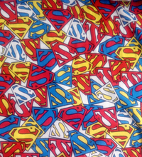 165X100cm Bright Superman Logo Lycra Cotton Fabric for Baby Clothes T-Skirt Sewing Patchwork DIY-AFCK029