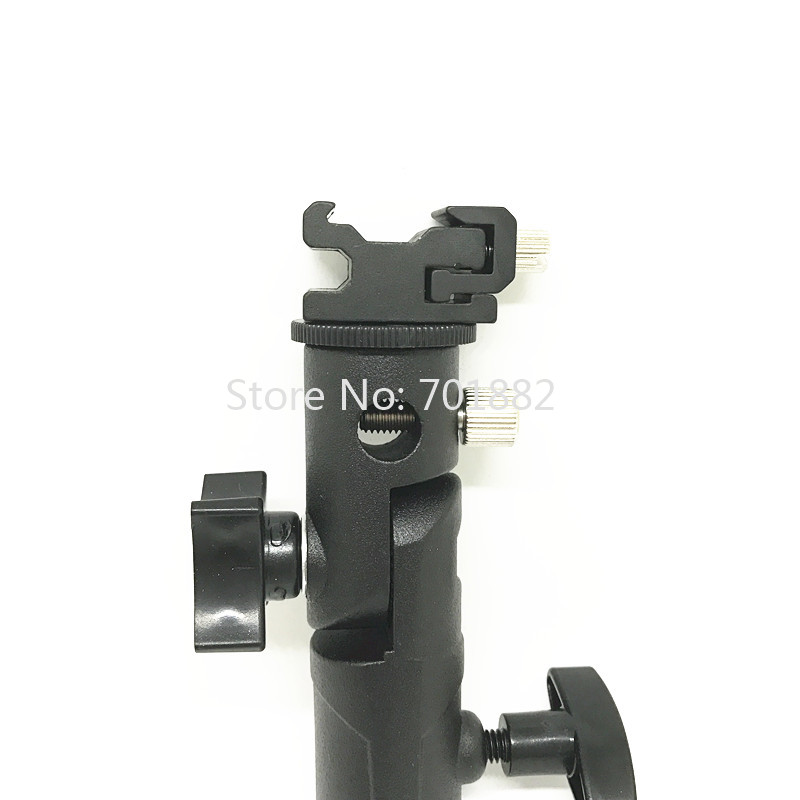 Jadkinsta Metal Flash Speedlite Bracket Hot Shoe to Light Stand Mount with Umbrella Holder Adapter Swivel Head (4)