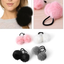 Lovely Faux Rabbit Fur Pompom Ball Hair Scrunchie Elastic Ponytail Holder Hair Band(China)
