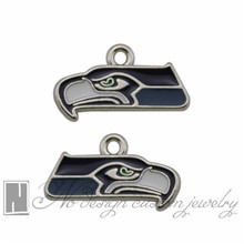 Seattle American football Seahawks Enamel Dangle Charms Jewelry DIY necklace dangle pendants jewelry making NE1102(China)