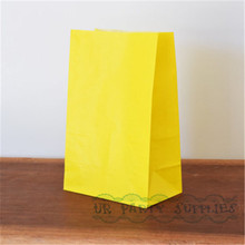 100pcs Yellow Paper Bags Stand Up Paper Bags Popcorn Bags Baby Shower Paper Party Supplies Favour Treat Gift Bags 22 x 12 x 8cm(China)