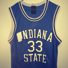 SexeMara Mens Indiana State Sycamores Larry Bird #33 Blue Basketball Jerseys Embroidery Logos New Materials With Double Stitchin
