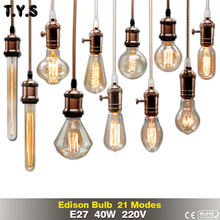 Retro Lamp ST64 G80 G95 Vintage Edison Bulb e27 Incandescent Bulb 220v Holiday Lights 40w Filament Lamp Lampada For Home Decor(China)