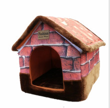 Warm Soft Cat Bed  For Small Big Large Dog Luxury  Pet Dog Kennel Cat House With Chimney Teddy GP160401-26