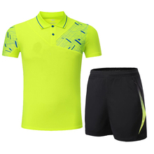 2017 Quick Dry Top Quality Men Running Set Sportswear Suit Badminton Table Tennis Shirt Clothes Sport POLO T Shirts+Shorts Set