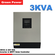 3KVA 24V60A Pure wave sine inverter with MPPT solar charge controller,LCD display remote control 2400w solar panel charge
