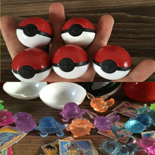 144 pcs/lot Pokeball With Crystal Pet Action Figures Mega Bulk Pikachu Stickers Plastic Game Ball Kid Gift Toy(China)