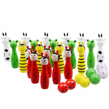 4 set Lovely Mini Cartoon Wooden Bowling Ball Skittle Game Cute Animal Shape For Kids Children Toys  4 Type 11.5x2.8cm