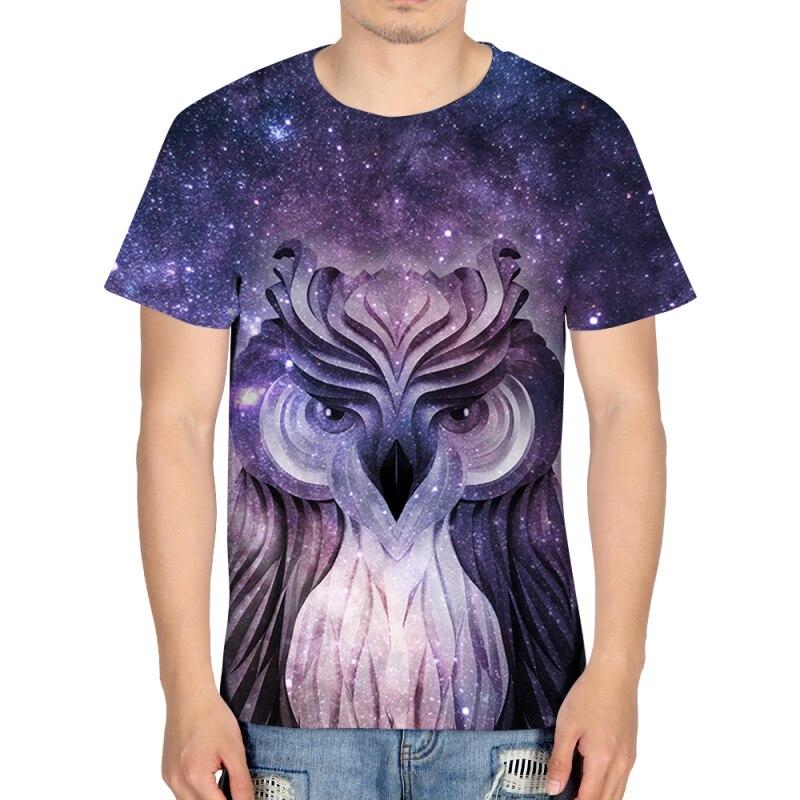 Harajuku Floating Owl Print Men Galaxy 3d Animal Funny Tshirt Short Sleeve Summer Tops Tees Male Streetwear Rap Clothing Casual