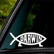 "Darwin Fish Sign Decal Sticker Evolution Laptop Vinyl Decal White Decal 5"" Wide Truck Notebook Die Cut Sticker Color: White"