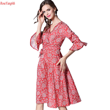 2017 New Fashion Red Dresses for Women Slim Print V Neck Sexy Dress Women Five Sleeves Robe Femme Plus Size Vestidos Y204
