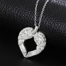 JEXXI Elegant Angel Wing Design Hollow Love Heart 925 Sterling Silver Pendant Cute Link Chain for Women Necklace Jewelry(China)