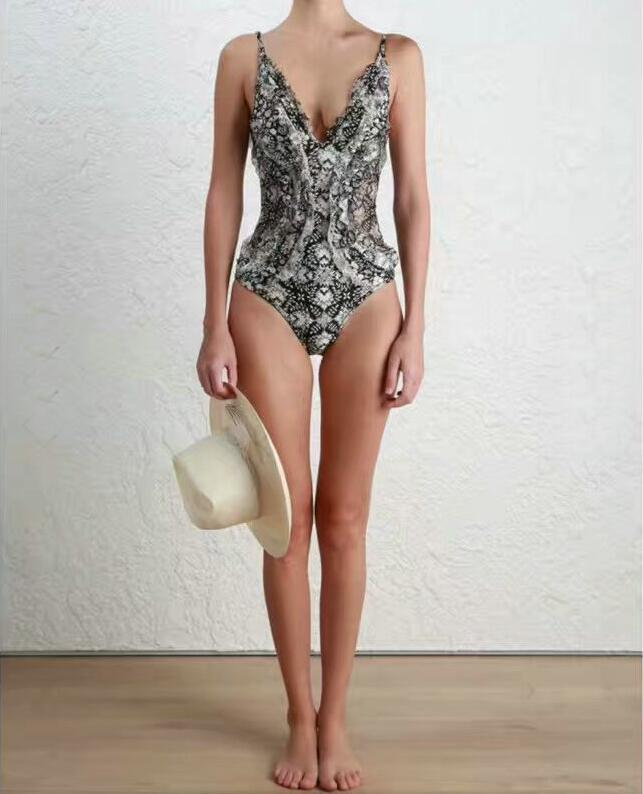 Swimming Suit For Women Ladies Bathing Swimsuits Womens High Waist Swimsuit One Piece 2017 New Black White Broken Flowers Lace<br>