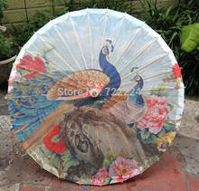Dia 50cm chinese handmade peafowl standing in the peony picture oiled paper umbrella small parasol dance umbrella for child(China)