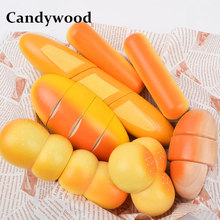Candywood Kitchen toys Kids Baby Breakfast Bread Hamburgers cutting food Education early learning wooden toys for girl gift(China)