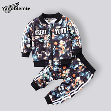 Baby Boys Spring Brand Clothing Sets Letter Flowers Pattern Tracksuits Zipper Jackets Coat+Pants 2pcs Sports Suit Kids Outfits