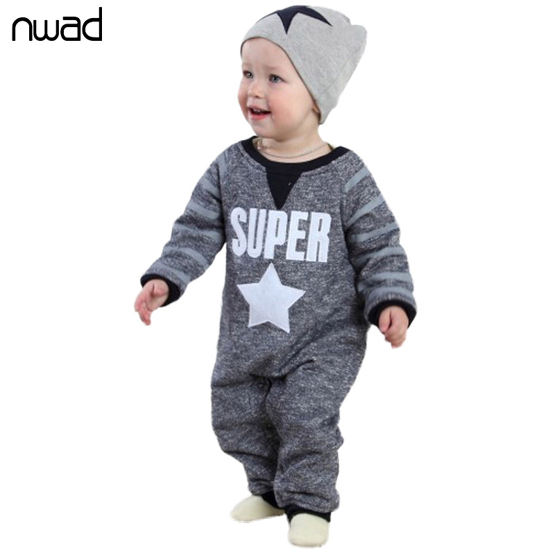 2017 New Casual Baby Boys Rompers Super Star Print One Pieces Romper For Toddler Kids Full Sleeve Jumpsuit With Hat FF006<br><br>Aliexpress