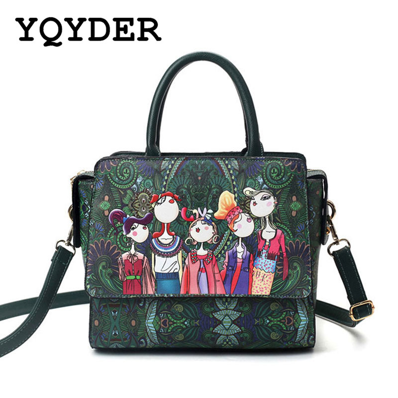 YQYDER 2017 Women Bag Patchwork Forest Girl Green Flap Bag Designer Leather Fashion Messenger Bags Ladies Single Shoulder Bag(China)