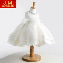 JEREMIAH Elegant White Flower Girls Dresses Baby Girl Baptism Dress Bow Lace Crystal Princess Dress Baby Girl Birthday Dress