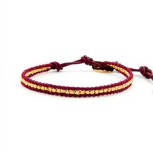 style vermeil on red leather charm jewelry Wrap Bracelet on Leather
