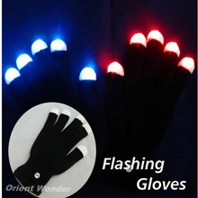 (2pcs/lot) LED Glow Gloves Rave Light Flashing Finger Lighting Mittens Magic Black Gloves Party Supplies Halloween Decoration(China)
