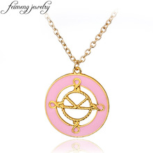 feimeng jewelry Kingsman Necklace Charm Pink Enamel The Secret Service Pendant Necklace For Women Fashion Accessories