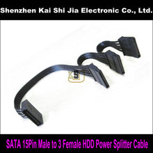 High quality SATA 15Pin Male to 3 Female Splitter Power Cable for PC Server Computer Hard Drive