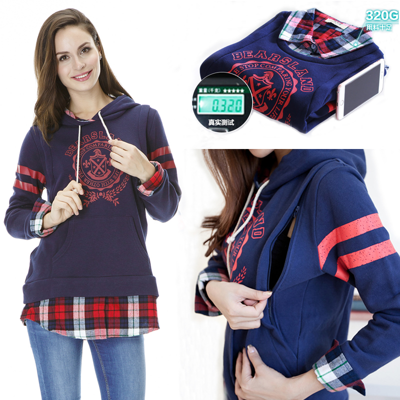British style Nursing top Autumn and Winter plaid paragraph patchwork Maternity Clothes Breastfeeding clothes  Maternity Sweater<br>