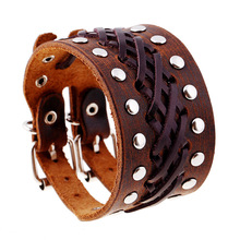 Factory Made Vintage Brown Leather Wristband Fashion Mens Metal Studs Rivet Bracelet(China)
