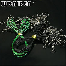 WDAIREN 20 pcs/lot Fishing Wire Line Leash Lure Fishhook Line Trace Wire Leader Swivel Snap Spinner Shark Spinning Expert FA-363(China)
