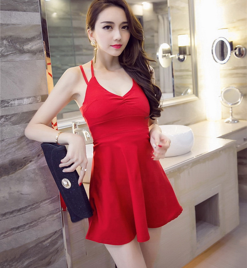 Chafferer Nightclub Bandage Halter Ladies Sexy Lingerie Summer Deep V Neck Low Waist Sexy Strap Dresses A Word Pompon Clothing