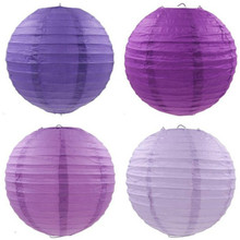 New Violet Color Chinese Paper Lanterns 10-15-20-25-30-35-40cm for Wedding Event Party Decoration Holiday Supplies Paper Ball
