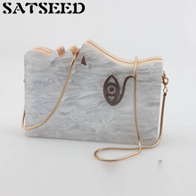 South Korea Wood Mosaic Pearl Rectangular Dress Handbag Chain Dinner Women Bag Shoulder Crossbody Satchels Hard Female Bag New