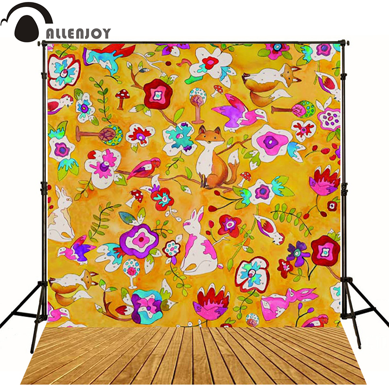 Allenjoy Photographic background Wooden rabbit flower fox newborn vinyl backdrops  photography photocall custom<br><br>Aliexpress