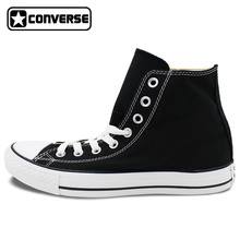 Custom BLACK Converse All Star Hand Painted Shoes High Top Canvas Sneakers Price Varies with Design(China)