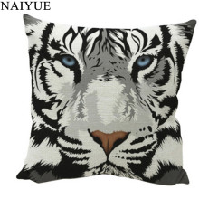 Pillow NAI YUE New Comfortable 1pc High Quality Cotton Linen Big Tiger Image Pillow case 1Pc Best Gifts For Home Decoration