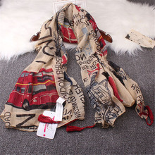 England Lun Bashi Bus M Word Flag Bridge Building Large Size Scarves Scarf Shawl Women Sunscreen Air Conditioning Beach Towel(China)