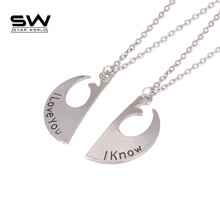 Couple Necklaces Star Wars Pendant Necklace Rebel Alliance I Love You I Know Lovers Couple Necklace Valentine's Day Gift(China)
