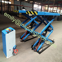 In ground   scissor lift with mechanical self-lock and extension platform