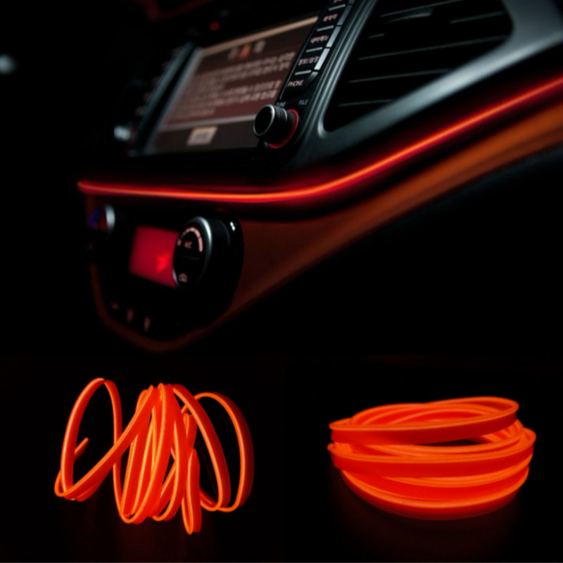 JURUS DIY Decoration Dash board Door Interior 1/2/3/5M EL Wire Rope Tube Neon Light Line 10 Colors + 12V Inverter Car Styling<br><br>Aliexpress