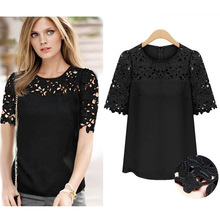 Factory Direct 2017 summer new arrival fashion Women Blouses O neck half sleeve plus size S 5XL loose clothing lace shirts 4196