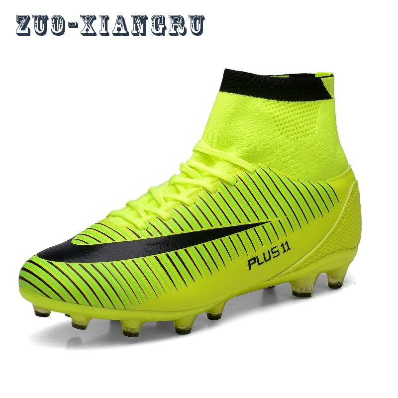High Ankle Men Football Shoes TF/FG/AG Long Spikes Training Football Boots Hard-wearing Soccer Shoes High Top Soccer Cleats(China (Mainland))