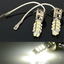 2 Pcs Pure White 12V H3 3528 SMD 28 LED Car Head Fog Light Auto Headlight Bulb Lamp