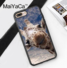 Cute Giraffe Blue Sky Printed Soft Rubber Cover for Apple iPhone 7 7Plus 6 6S Plus 5 5S 5C SE 4S Hard Plastic Phone Cases