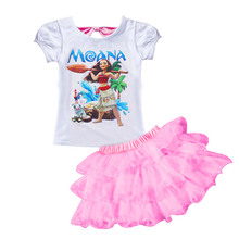 2017 New Summer Girl Clothes Set Moana Ocean Romancet Shirt + Dress Baby Set Fashion Kids Girls Suit Children Set Clothing